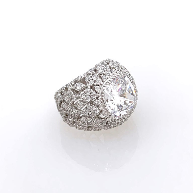 Contemporary Bijoux Num Sterling Silver Faux Diamond Bombe Dome Ring For Sale
