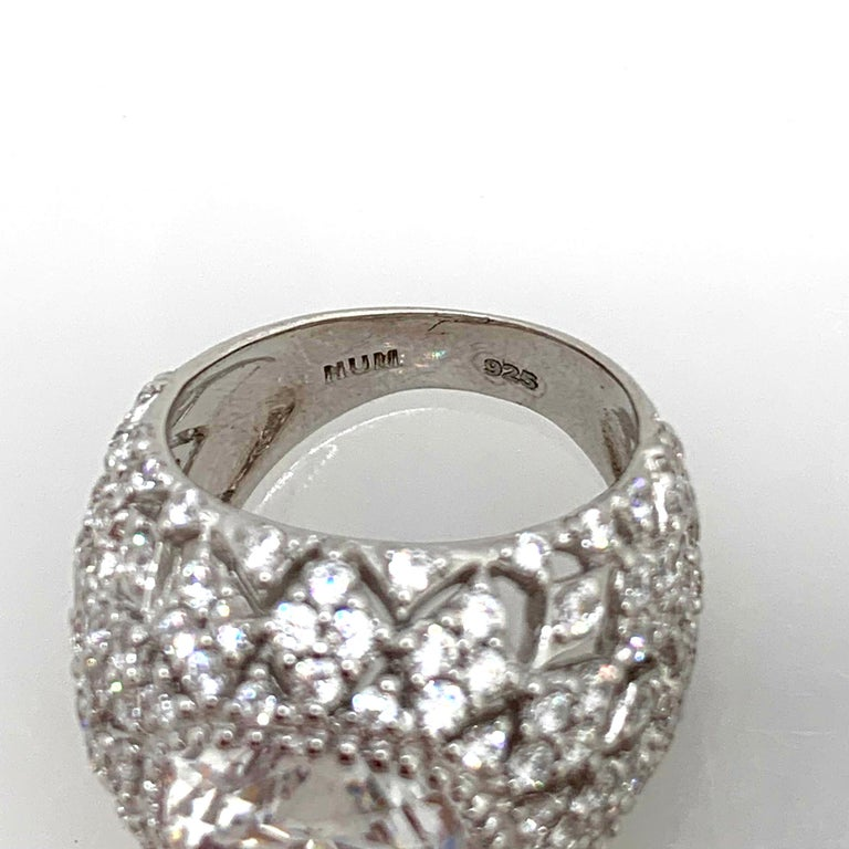 Bijoux Num Sterling Silver Faux Diamond Bombe Dome Ring In New Condition For Sale In Los Angeles, CA