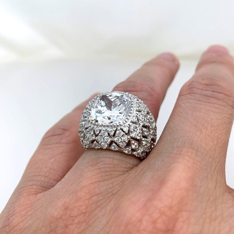 Women's Bijoux Num Sterling Silver Faux Diamond Bombe Dome Ring For Sale