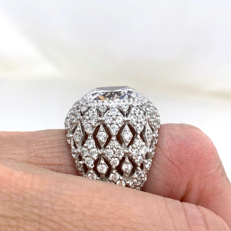 Bijoux Num Sterling Silver Faux Diamond Bombe Dome Ring For Sale 2