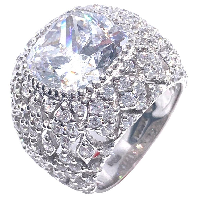 Bijoux Num Sterling Silver Faux Diamond Bombe Dome Ring For Sale