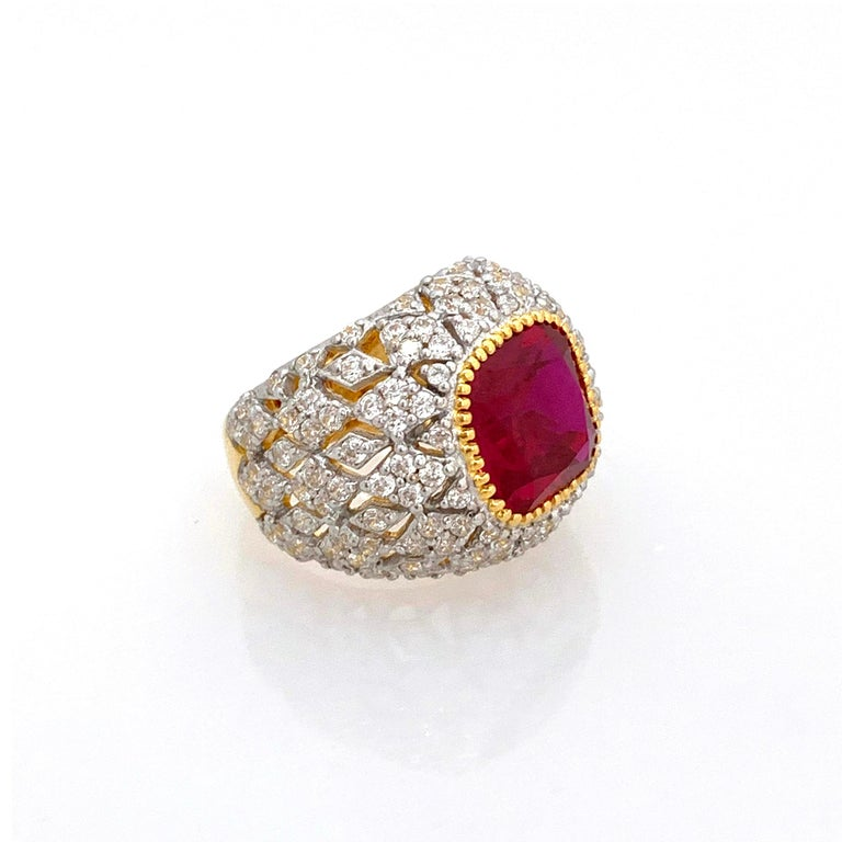 Contemporary Bijoux Num Sterling Silver Lab Ruby Bombe Dome Ring For Sale