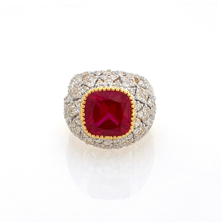 Cushion Cut Bijoux Num Sterling Silver Lab Ruby Bombe Dome Ring For Sale
