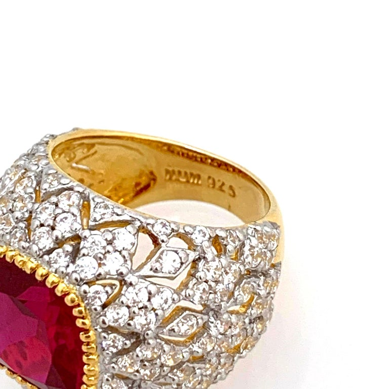 Bijoux Num Sterling Silver Lab Ruby Bombe Dome Ring In New Condition For Sale In Los Angeles, CA