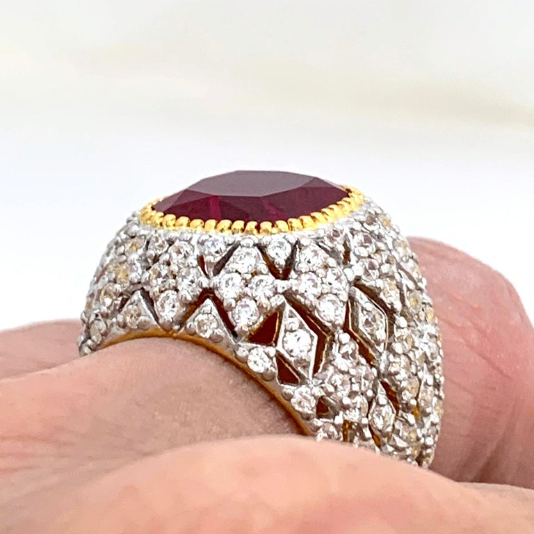Women's Bijoux Num Sterling Silver Lab Ruby Bombe Dome Ring For Sale
