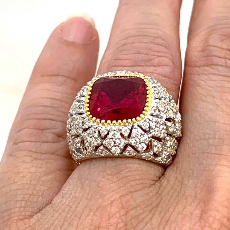 Bijoux Num Sterling Silver Lab Ruby Bombe Dome Ring For Sale 1
