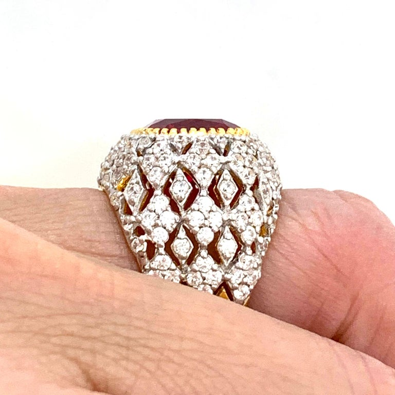 Bijoux Num Sterling Silver Lab Ruby Bombe Dome Ring For Sale 2