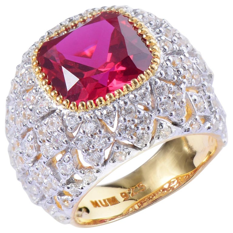 Bijoux Num Sterling Silver Lab Ruby Bombe Dome Ring For Sale