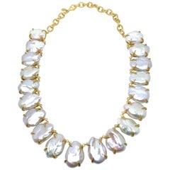 Bijoux Num Stunning White and  Lustrous Baroque Pearl Vermeil Necklace