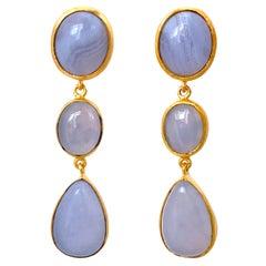 Bijoux Num Triple Chalcedony Vermeil Drop Earrings