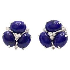 Bijoux Num Triple Oval Lapis Lazuli Stud Earrings