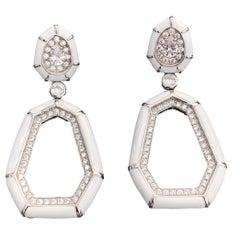 Bijoux Num White Enamel Septagon Door Knocker  Earrings