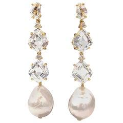 Bijoux Num White Topaz and Baroque Pearl Elongate Dangle Earrings