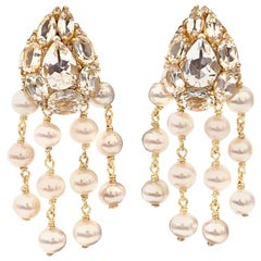 Bijoux Num Clustered White Topaz and Pearl Dangle Earrings