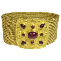 Bikakis & Johns 22K/18K Wide Woven Bracelet with Rubies