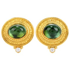 Bikakis & Johns Diamond Peridot 18K Gold Etruscan Omega Back Cabochon Earrings
