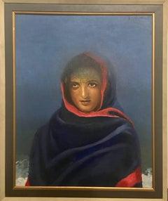 Rare work by Bikash Bhattacharya's beautiful executed potrait in Blue