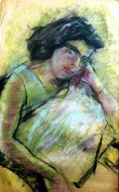 "Sleeping Women, Dry Pastel on paper, Painting, Green, Black, Red ""In Stock"""
