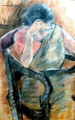"Women sitting in a Chair, Pastel on paper, Painting,  Blue, Red, Brown""In Stock"""