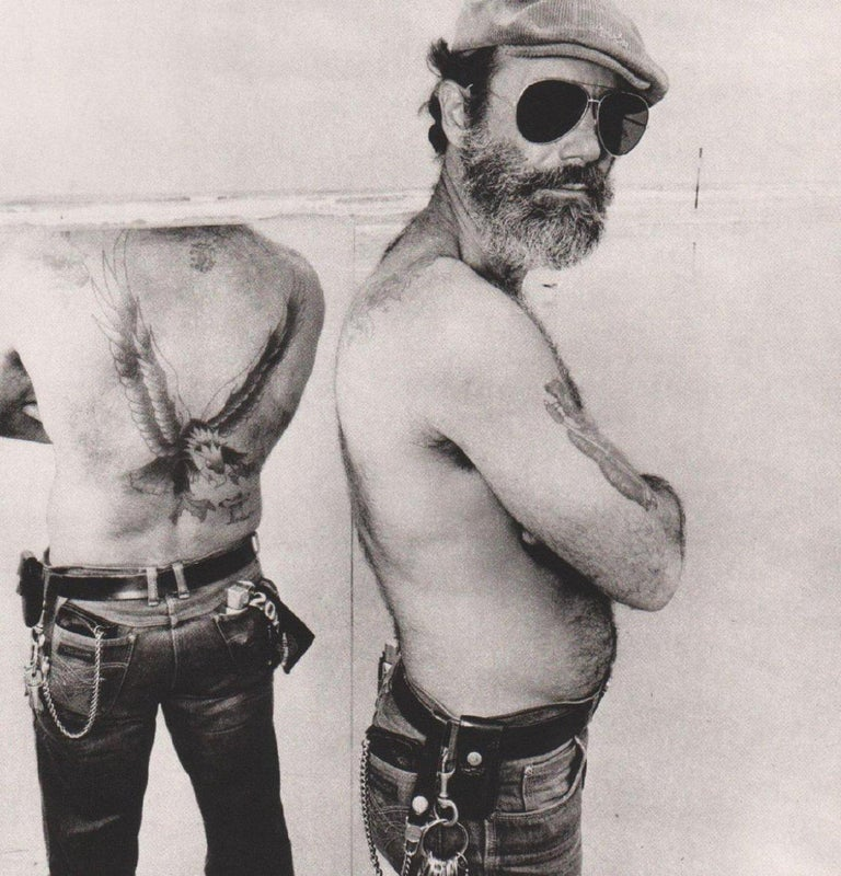 Mid-Century Modern Biker in a Mirror Black and White Photograph Gravure Print by Burk Uzzle, 1980 For Sale
