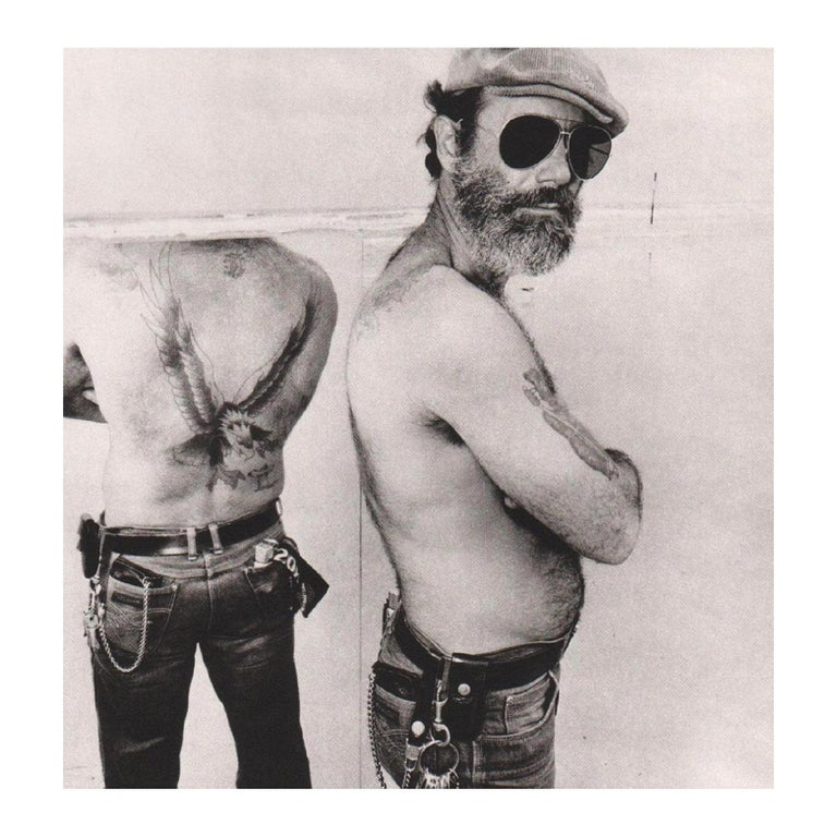 Biker in a Mirror Black and White Photograph Gravure Print by Burk Uzzle, 1980 For Sale