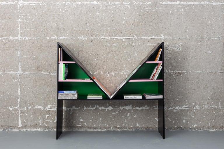 Lacquered Contemporary Bookcase Purple Bikini Wood by Chapel Petrassi For Sale