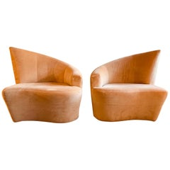 """""""Bilbao"""" Swivel Lounge Chairs Designed by Vladimir Kagan for Weiman, a Pair"""
