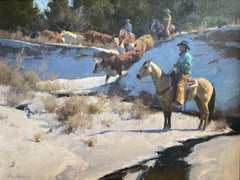 """THE SPRING THAW""  SNOWY WESTERN ROUNDUP.  ARIZONA COWBOY ARTIST"