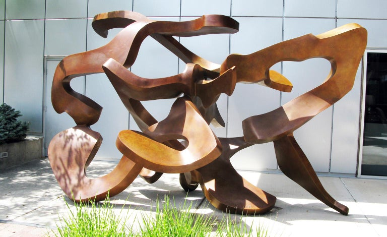"""""""Plexus"""" by Bill Barrett Fabricated bronze  Bill Barrett is considered a central figure in the second generation of American metal sculptors and is internationally known for his abstract sculptures in steel, aluminum and bronze.  Bronze, Metal,"""