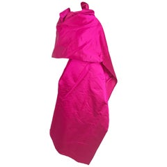 Bill Bass Fuchsia Silk Satin Evening Wrap 1970s