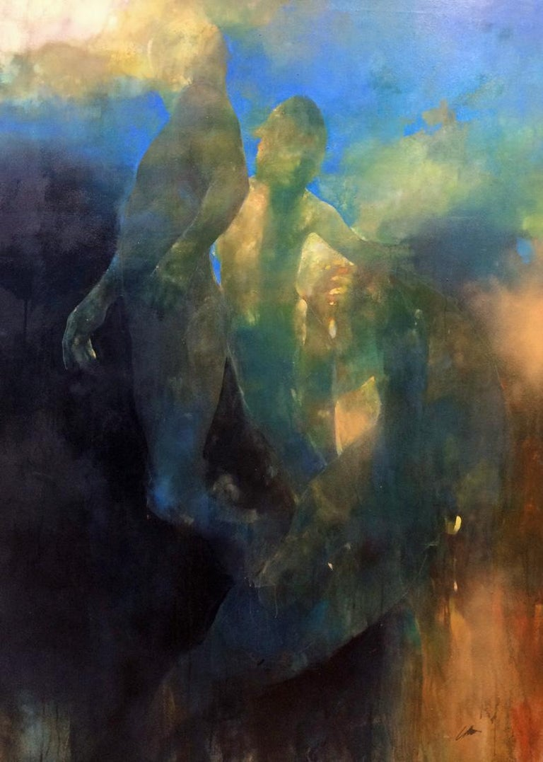 Bill Bate Figurative Painting - At the Edge of your Mind - contemporary underwater figurative oil painting