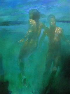 Blue Azure (Ascension) - contemporary underwater nude figures