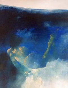 Dream Glide - contemporary underwater figurative nude oil painting
