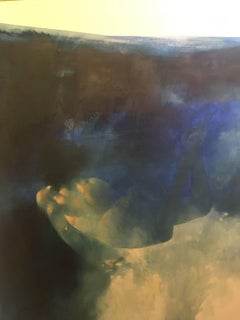 Dream Glide -blue and yellow underwater figurative painting oil on canvas