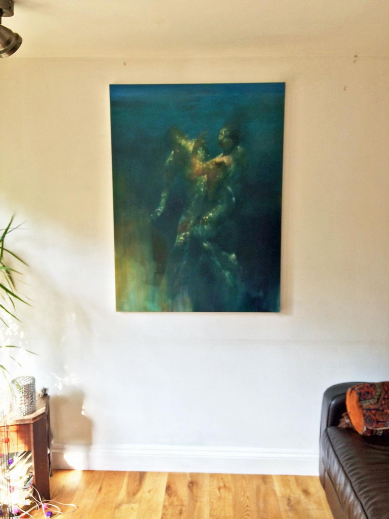 Glow - contemporary under water nude figures oil painting - Painting by Bill Bate