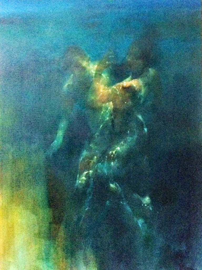 Bill Bate Figurative Painting - Glow - contemporary under water nude figures oil painting