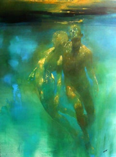 Luminescence  -blue and green underwater figurative painting oil on canvas