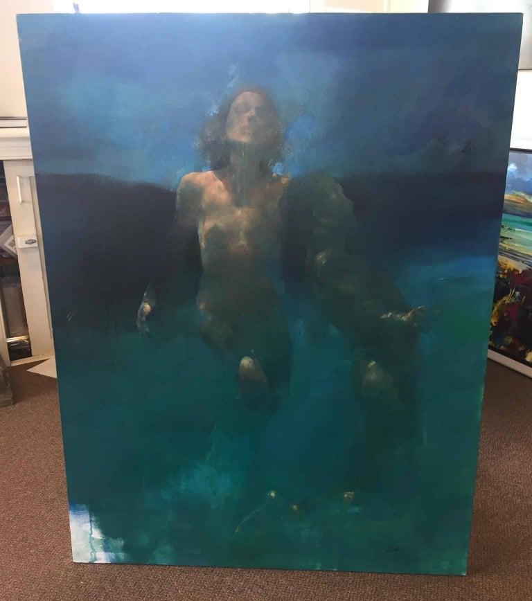 Morphosis II underwater painting , blue painting , sea painting, people painting - Painting by Bill Bate