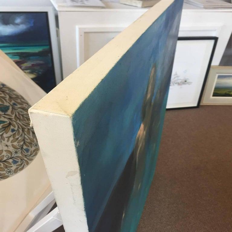 Morphosis II underwater painting , blue painting , sea painting, people painting - Contemporary Painting by Bill Bate