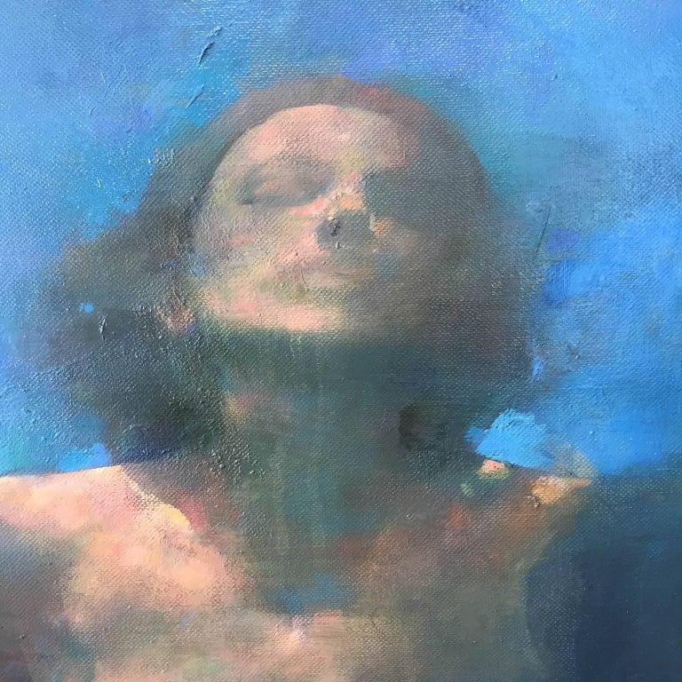 Morphosis II underwater painting , blue painting , sea painting, people painting - Black Nude Painting by Bill Bate