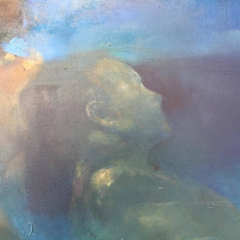 'Morphosis II' has been painted by the artist, Bill Bate, using oil paint on canvas.   This painting started out as a single figure but has been heavily reworked evolving into a scene depicting two bodies. The emphasis is on the different aspects of