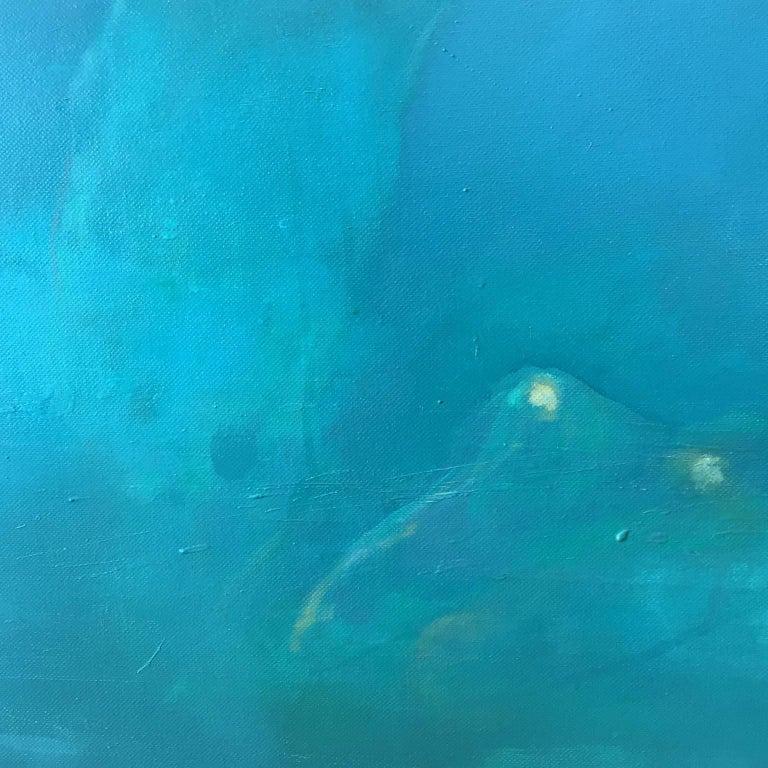 Morphosis II underwater painting , blue painting , sea painting, people painting For Sale 1