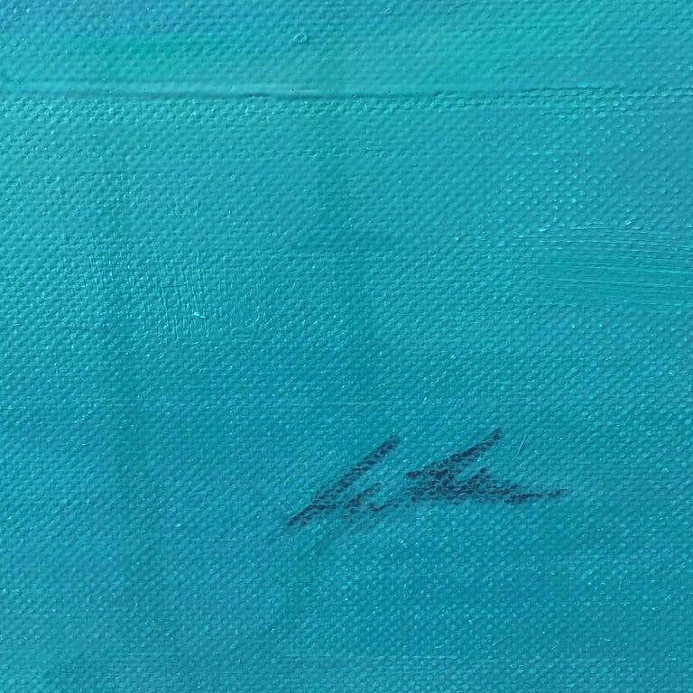 Morphosis II underwater painting , blue painting , sea painting, people painting For Sale 4