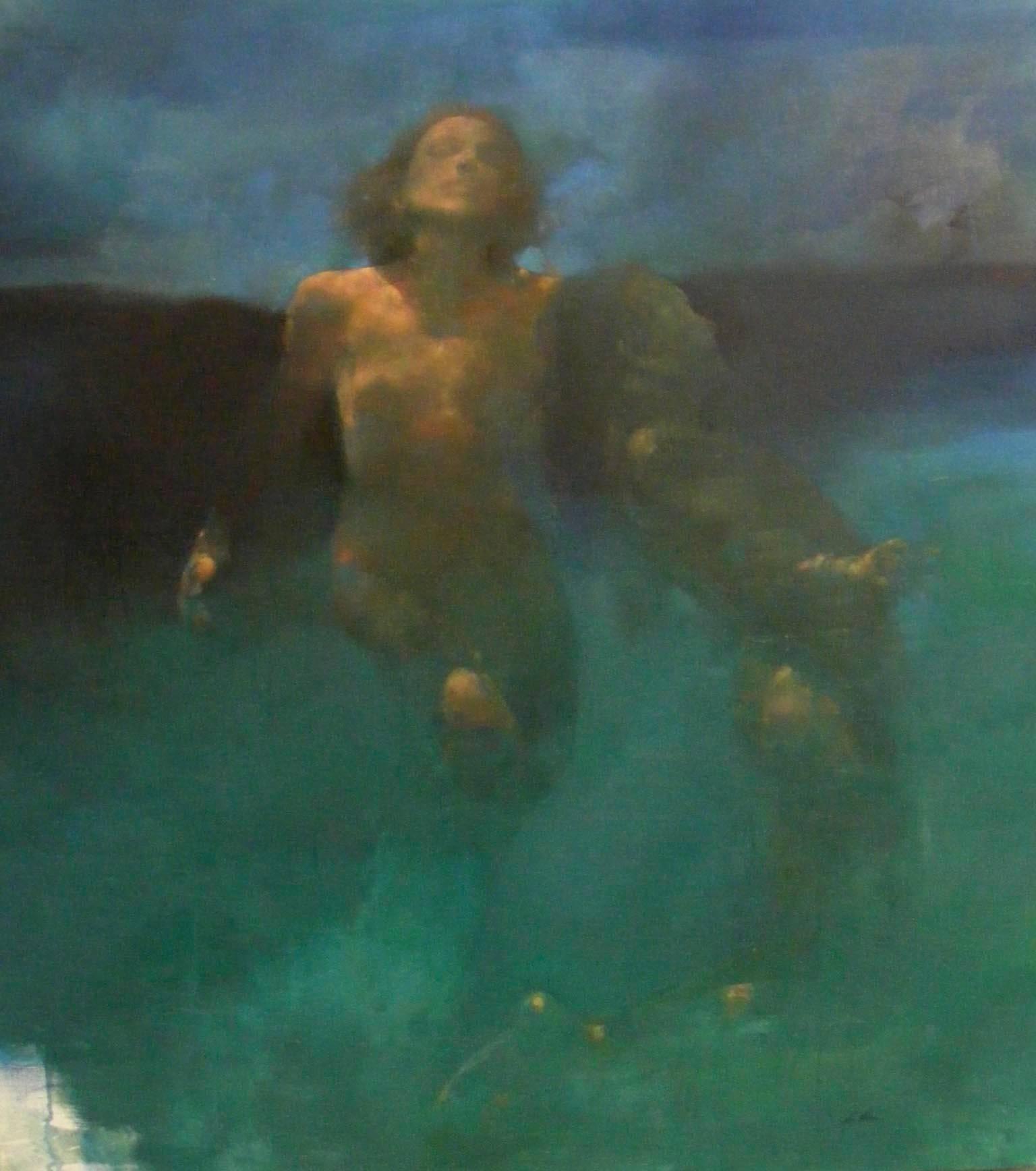 Morphosis II underwater painting , blue painting , sea painting, people painting