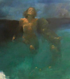Morphosis II underwater painting , blue painting , sea painting, people painting