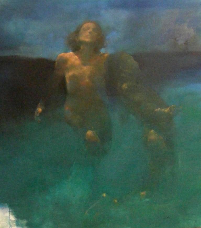 Bill Bate Nude Painting - Morphosis II underwater painting , blue painting , sea painting, people painting