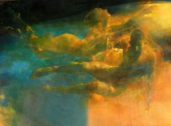 New Horizons  -blue and yellow underwater figurative painting oil on canvas