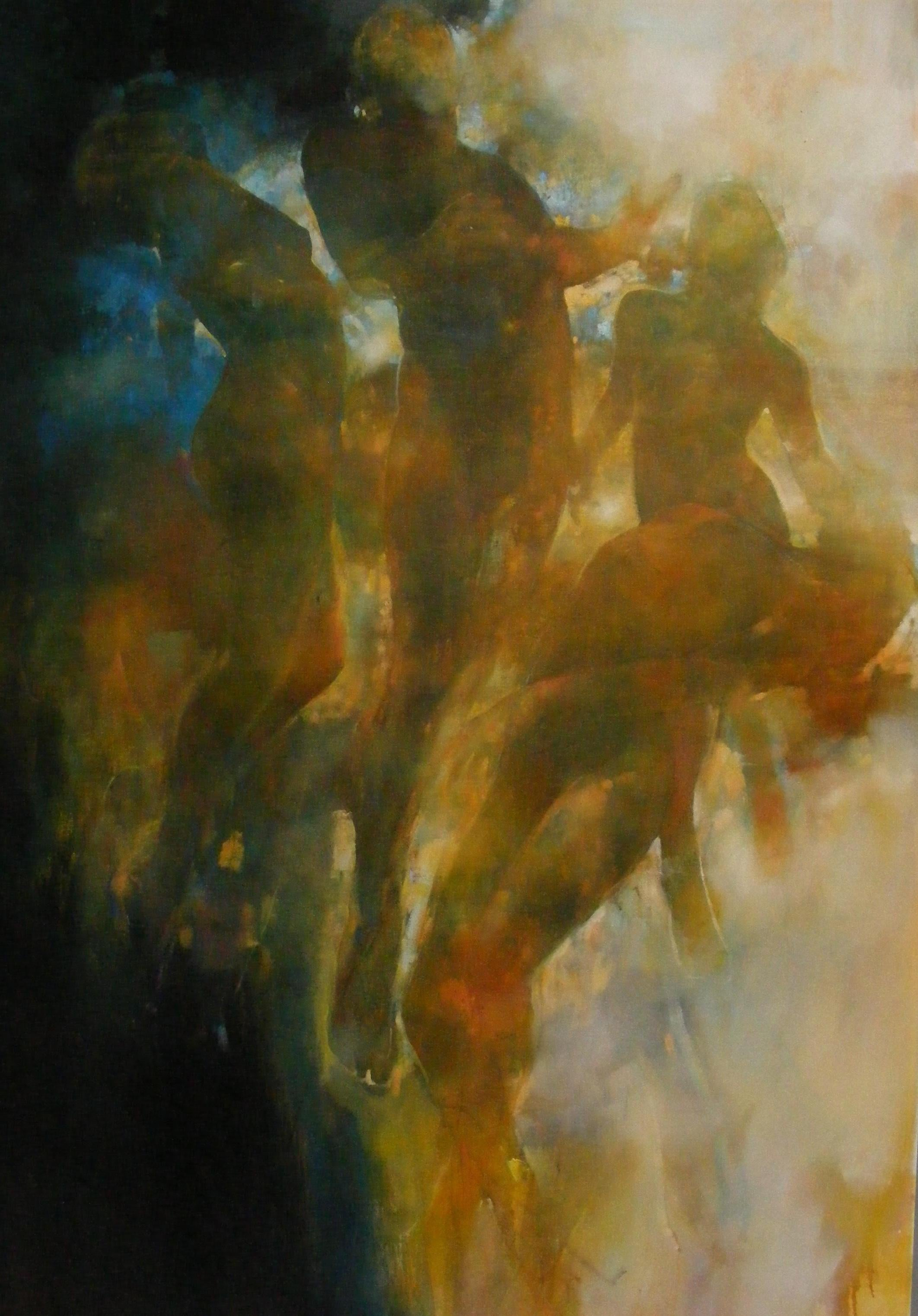 Radiance - contemporary underwater figures movement oil painting unframed