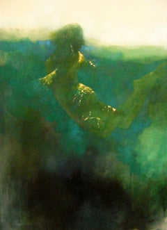 Resonance  -green and white underwater figurative painting oil on canvas