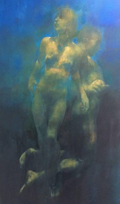Resonant Blue -blue and yellow underwater figurative painting oil on canvas